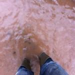 25/11/2012 Indication of water depth of water pooling in Hopkiln Lane by Ben Huson