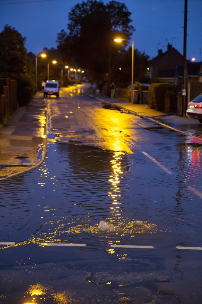 23/07/2013 @ 21:48 Bubbling drain at the bottom of Leeway Road by Andrew Chadwick