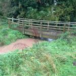 28/10/2013 @ 09:00 - Potwell Dyke flowing out of Harveys Field Footbridge